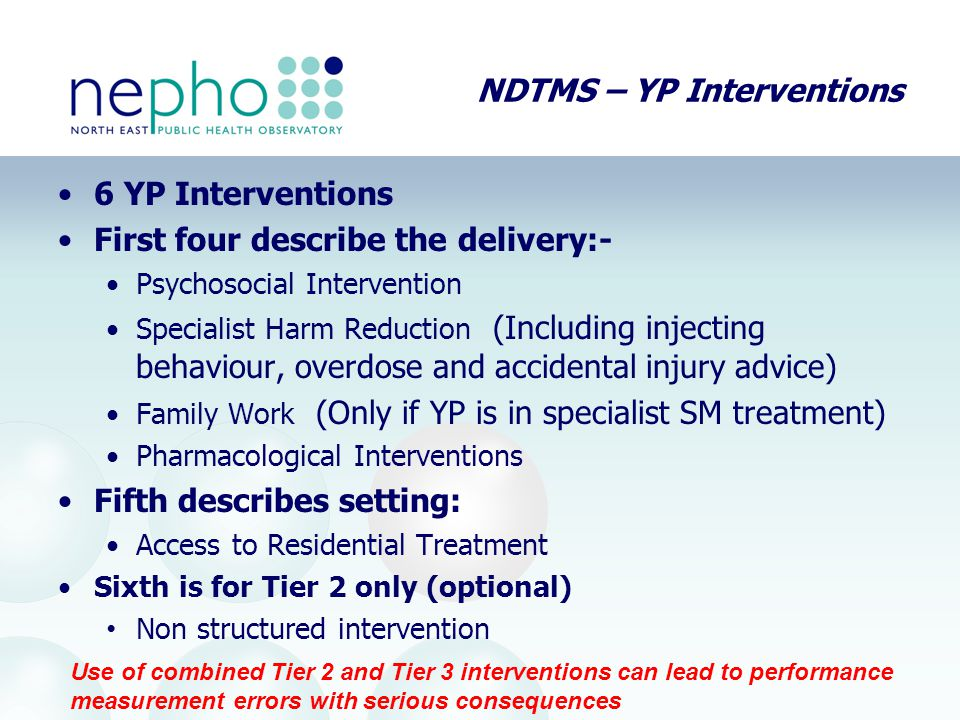 NDTMS – YP Interventions 6 YP Interventions First four describe the delivery:- Psychosocial Intervention Specialist Harm Reduction (Including injectin