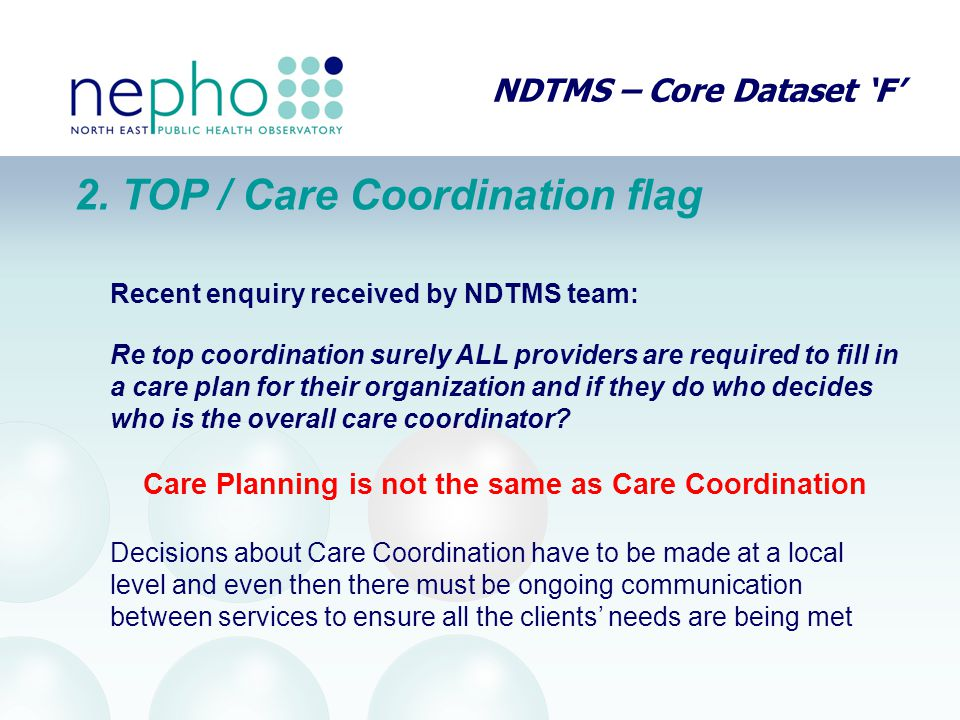 NDTMS – Core Dataset 'F' 2.