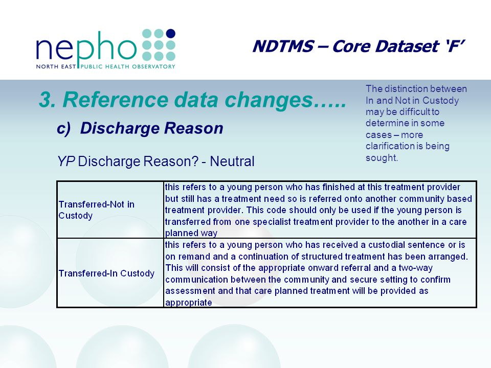 NDTMS – Core Dataset 'F' 3. Reference data changes….. c) Discharge Reason YP Discharge Reason? - Neutral The distinction between In and Not in Custody