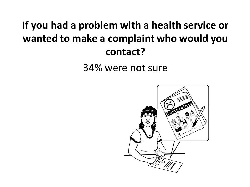 If you had a problem with a health service or wanted to make a complaint who would you contact.