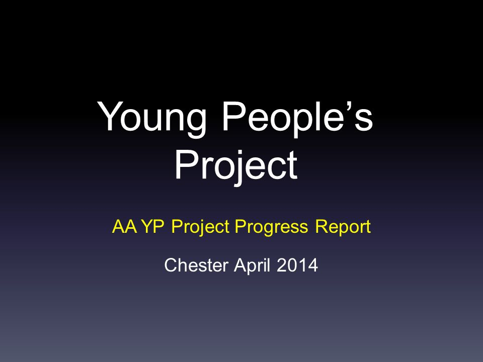 Young People's Project AA YP Project Progress Report Chester April 2014