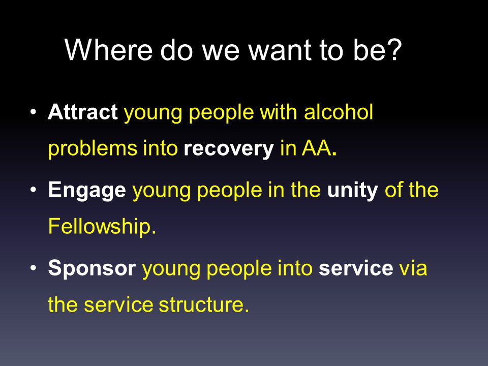 Where do we want to be. Attract young people with alcohol problems into recovery in AA.