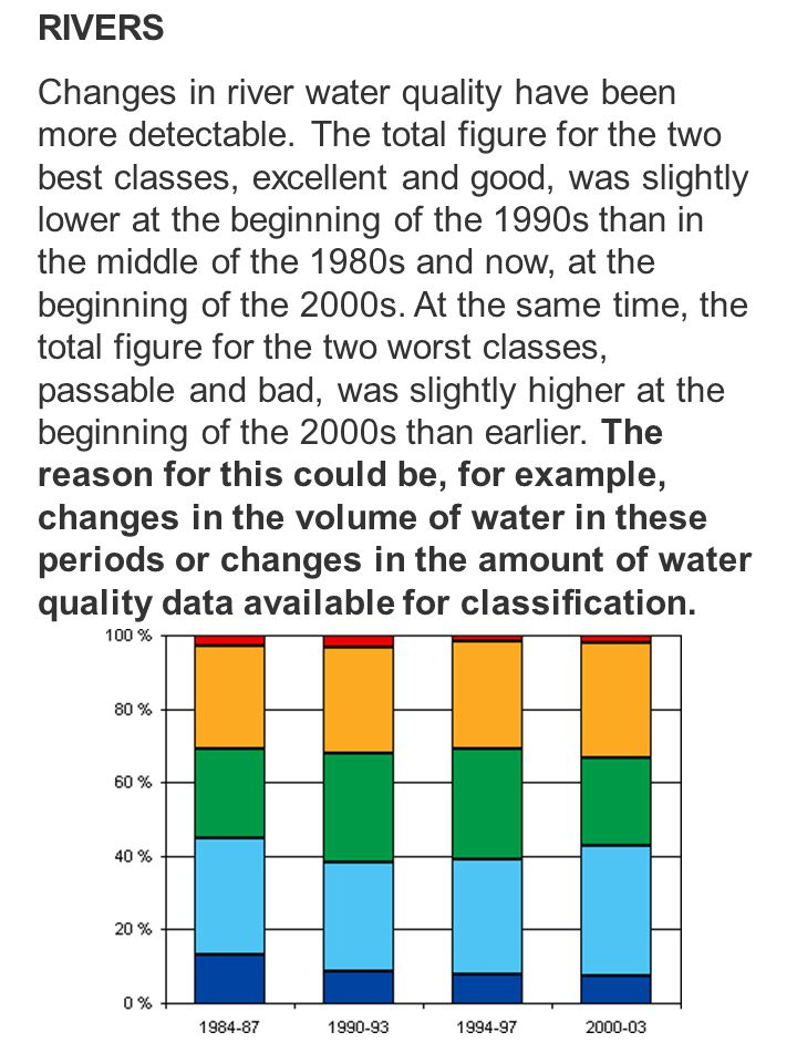 RIVERS Changes in river water quality have been more detectable. The total figure for the two best classes, excellent and good, was slightly lower at