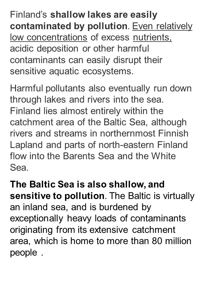 Finland's shallow lakes are easily contaminated by pollution.