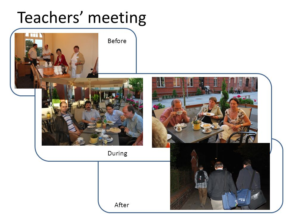 Teachers' meeting Before During After
