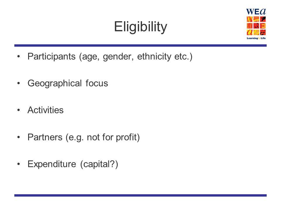 Eligibility Participants (age, gender, ethnicity etc.) Geographical focus Activities Partners (e.g.
