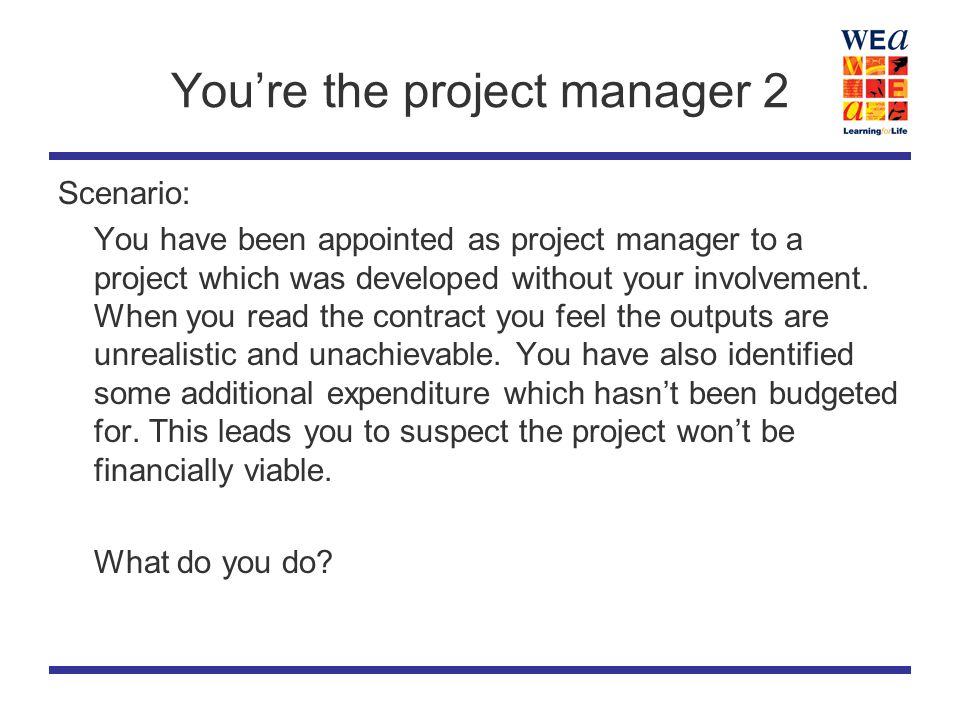 You're the project manager 2 Scenario: You have been appointed as project manager to a project which was developed without your involvement.