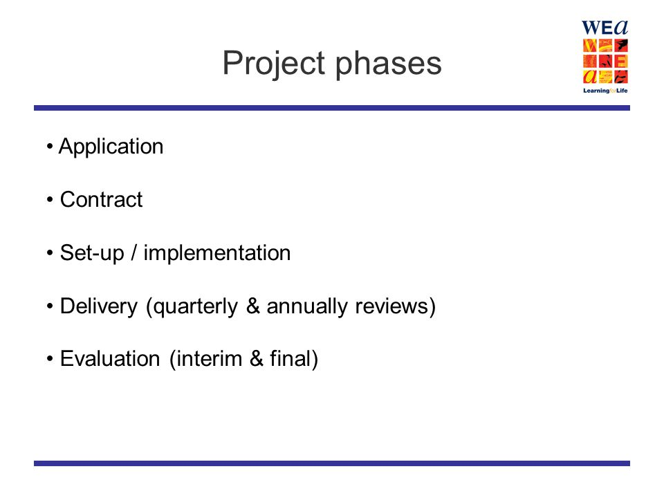 Project phases Application Contract Set-up / implementation Delivery (quarterly & annually reviews) Evaluation (interim & final)