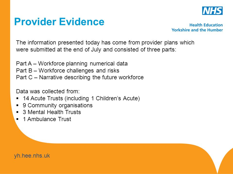 yh.hee.nhs.uk Provider Evidence The information presented today has come from provider plans which were submitted at the end of July and consisted of three parts: Part A – Workforce planning numerical data Part B – Workforce challenges and risks Part C – Narrative describing the future workforce Data was collected from:  14 Acute Trusts (including 1 Children's Acute)  9 Community organisations  3 Mental Health Trusts  1 Ambulance Trust