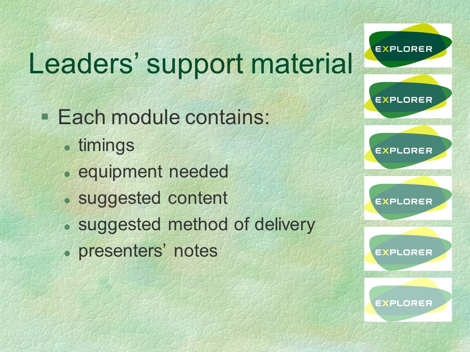Leaders' support material §Each module contains: l timings l equipment needed l suggested content l suggested method of delivery l presenters' notes