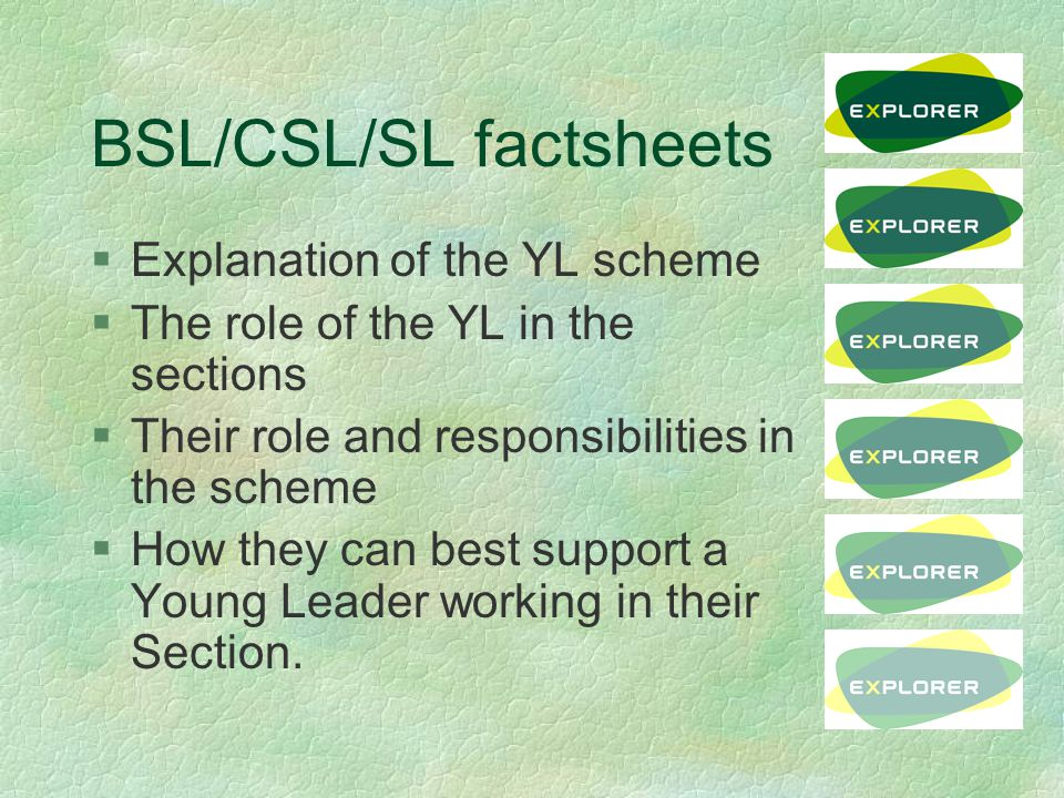 BSL/CSL/SL factsheets §Explanation of the YL scheme §The role of the YL in the sections §Their role and responsibilities in the scheme §How they can best support a Young Leader working in their Section.