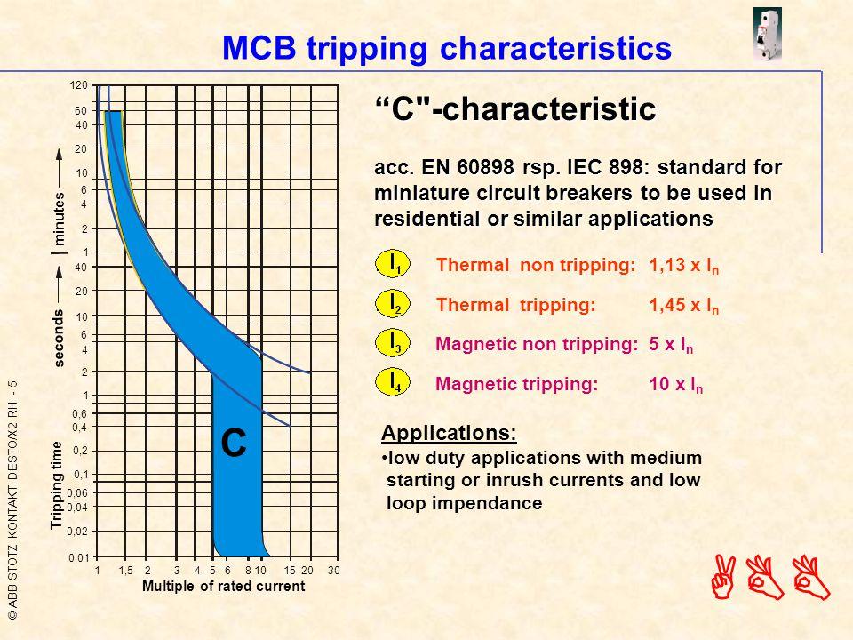 © ABB STOTZ KONTAKT DESTO/X2 RH - 5 ABB MCB tripping characteristics C -characteristic acc.