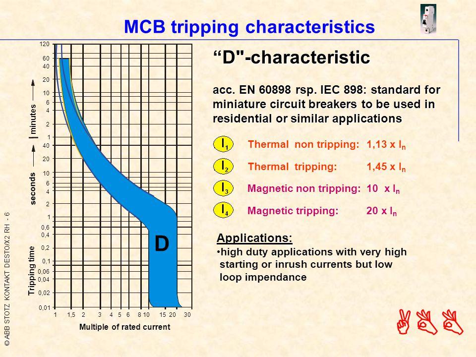 © ABB STOTZ KONTAKT DESTO/X2 RH - 6 ABB MCB tripping characteristics D -characteristic acc.