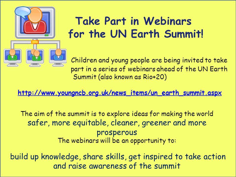 Take Part in Webinars for the UN Earth Summit.