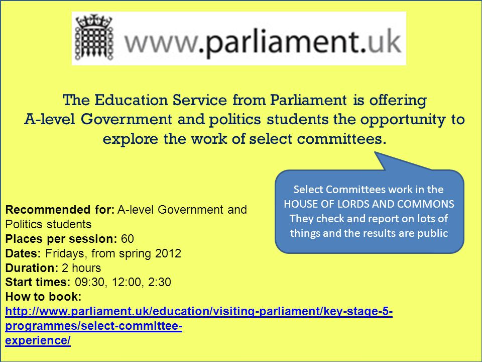 www.parliament.uk/education/visiting-parliament/key- stage-5-programmes/political-speed-dating/ The Education Service from Parliament is holding an event on 10 May for key stage 5 students to meet political personalities from a range of parties.