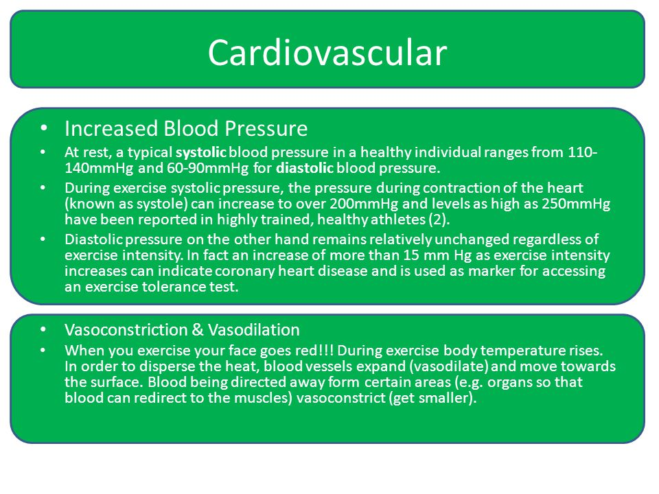 Cardiovascular Increased Blood Pressure At rest, a typical systolic blood pressure in a healthy individual ranges from 110- 140mmHg and 60-90mmHg for