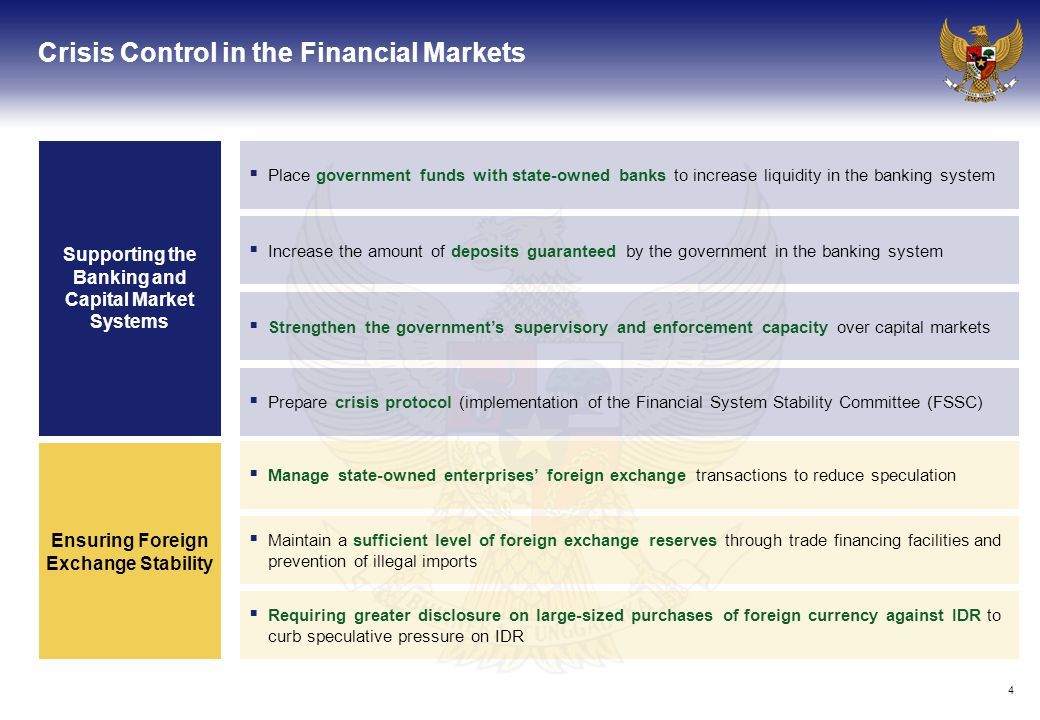 4 Crisis Control in the Financial Markets Supporting the Banking and Capital Market Systems  Place government funds with state-owned banks to increase liquidity in the banking system  Increase the amount of deposits guaranteed by the government in the banking system  Strengthen the government's supervisory and enforcement capacity over capital markets  Prepare crisis protocol (implementation of the Financial System Stability Committee (FSSC)  Manage state-owned enterprises' foreign exchange transactions to reduce speculation  Maintain a sufficient level of foreign exchange reserves through trade financing facilities and prevention of illegal imports  Requiring greater disclosure on large-sized purchases of foreign currency against IDR to curb speculative pressure on IDR Ensuring Foreign Exchange Stability