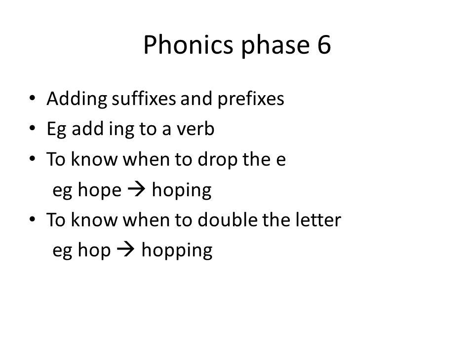 Phonics phase 6 Adding suffixes and prefixes Eg add ing to a verb To know when to drop the e eg hope  hoping To know when to double the letter eg hop  hopping