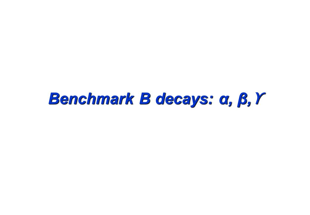 Benchmark B decays: α, β, ϒ