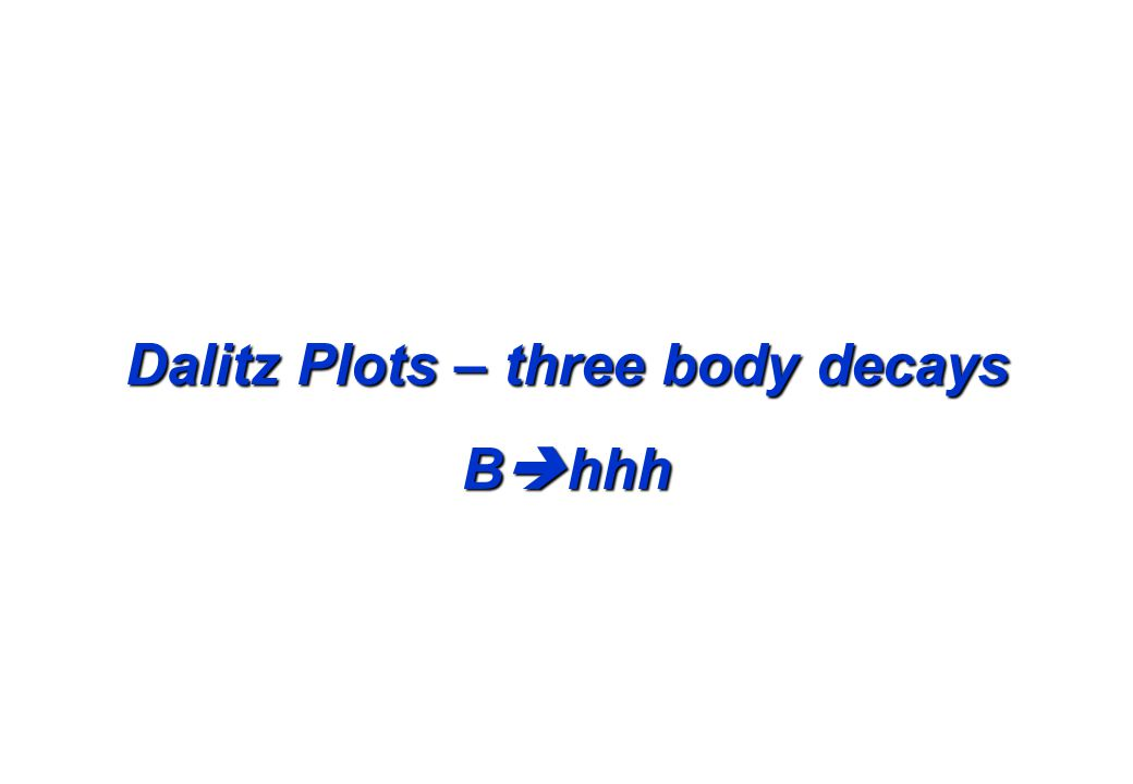 Dalitz Plots – three body decays B  hhh