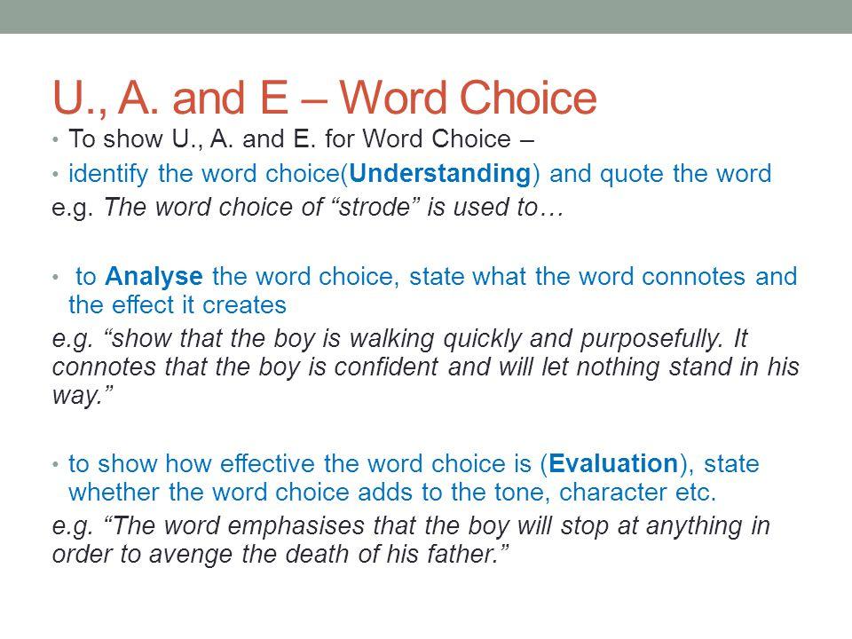 U., A.and E – Word Choice To show U., A. and E.