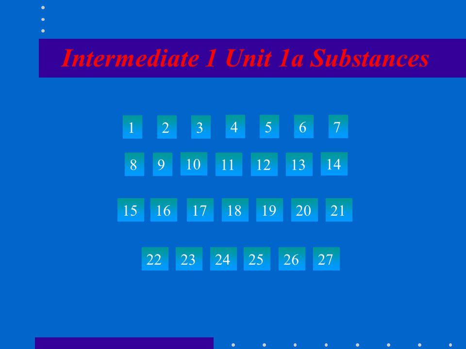 Intermediate 1 Unit 1a Substances 123 4567 89 10 111213 14 15 22 2324 25 26 27 161718192021