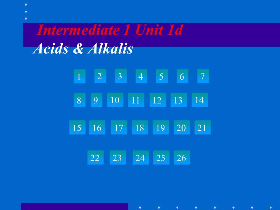Intermediate 1 Unit 1d Acids & Alkalis 1 23 4567 89 10 111213 14 15 22 23242526 161718192021