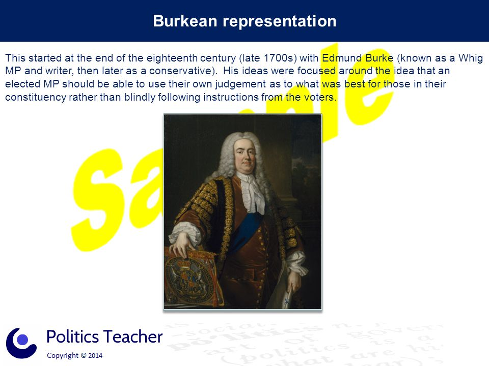 Burkean representation This started at the end of the eighteenth century (late 1700s) with Edmund Burke (known as a Whig MP and writer, then later as