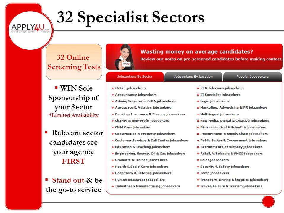 32 Specialist Sectors 32 Online Screening Tests