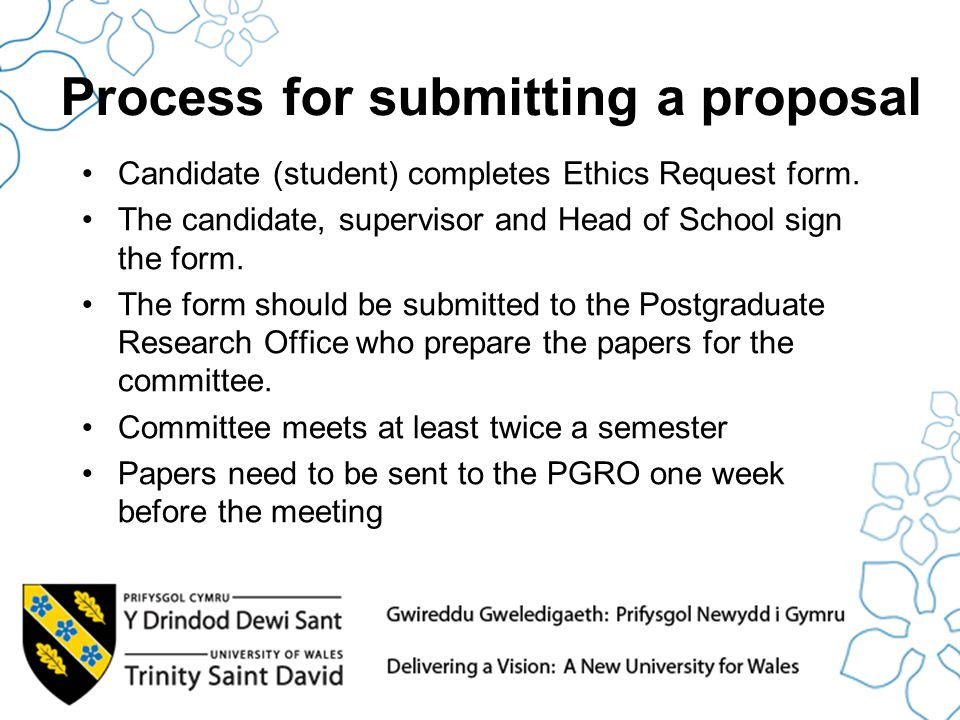 Process for submitting a proposal Candidate (student) completes Ethics Request form.