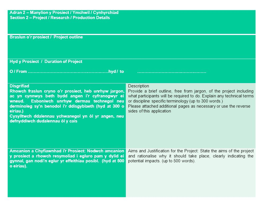 Adran 2 – Manylion y Prosiect / Ymchwil / Cynhyrchiad Section 2 – Project / Research / Production Details Braslun o'r prosiect / Project outline Hyd y Prosiect / Duration of Project O / From …………………………………………………hyd / to ……………………….………………… Disgrifiad Rhowch fraslun cryno o'r prosiect, heb unrhyw jargon, ac yn cynnwys beth bydd angen i'r cyfranogwyr ei wneud.