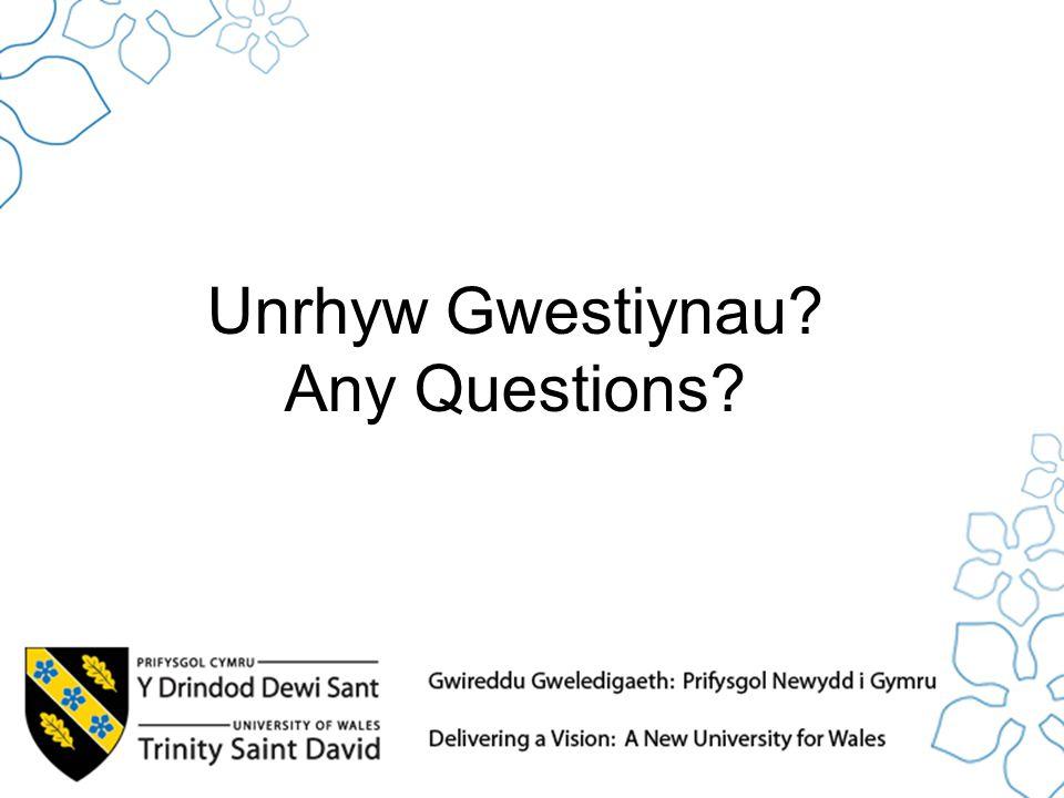 Unrhyw Gwestiynau? Any Questions?