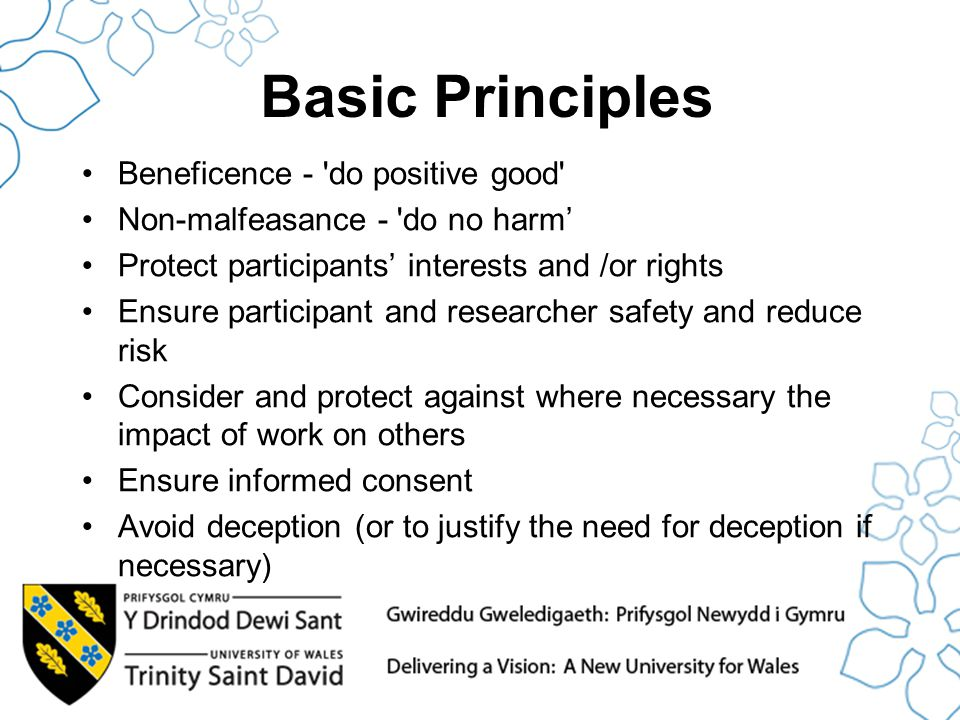 Basic Principles Beneficence - do positive good Non-malfeasance - do no harm' Protect participants' interests and /or rights Ensure participant and researcher safety and reduce risk Consider and protect against where necessary the impact of work on others Ensure informed consent Avoid deception (or to justify the need for deception if necessary)