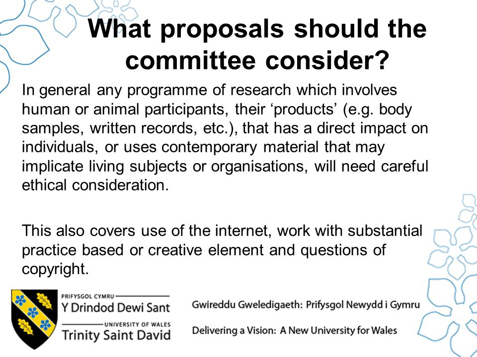 What proposals should the committee consider.