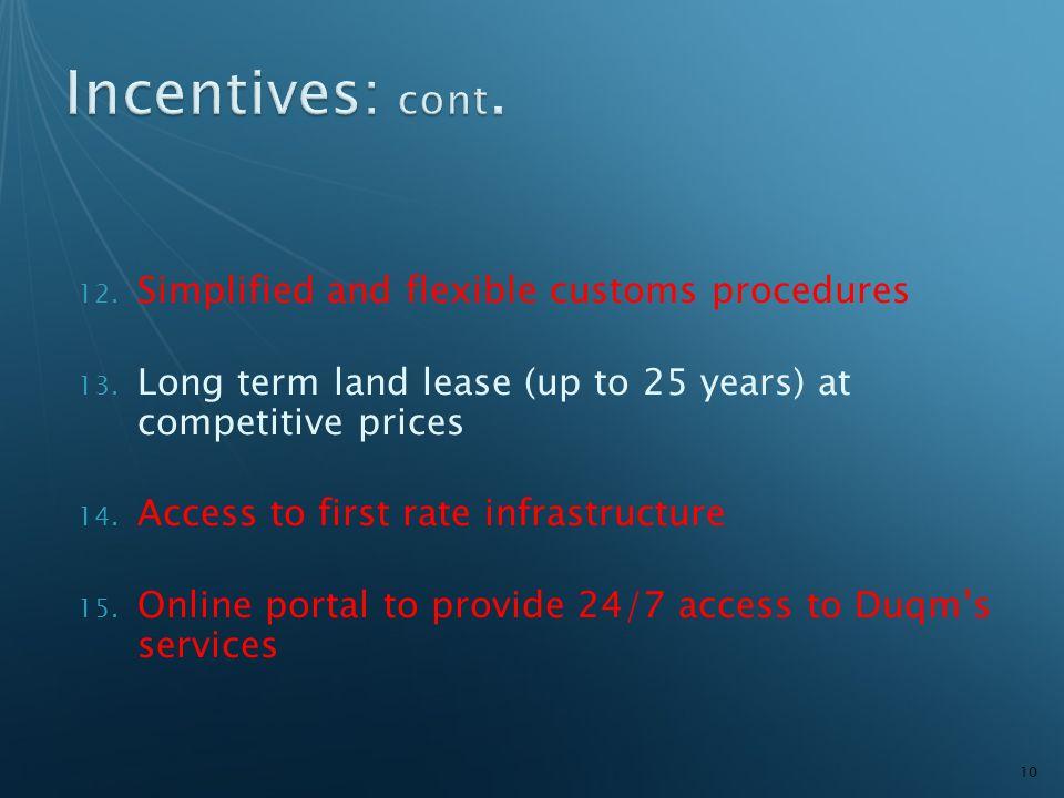 12. Simplified and flexible customs procedures 13.