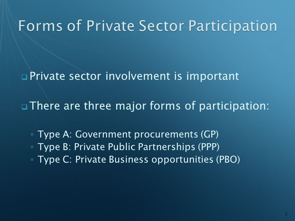  Private sector involvement is important  There are three major forms of participation: ◦ Type A: Government procurements (GP) ◦ Type B: Private Pub