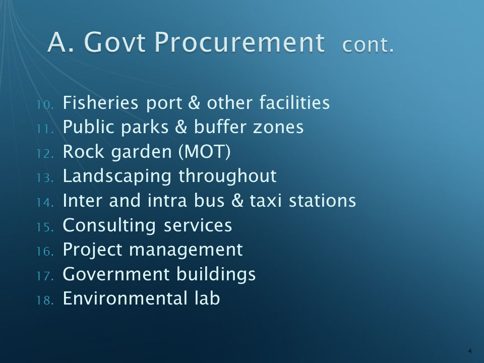 10.Fisheries port & other facilities 11. Public parks & buffer zones 12.