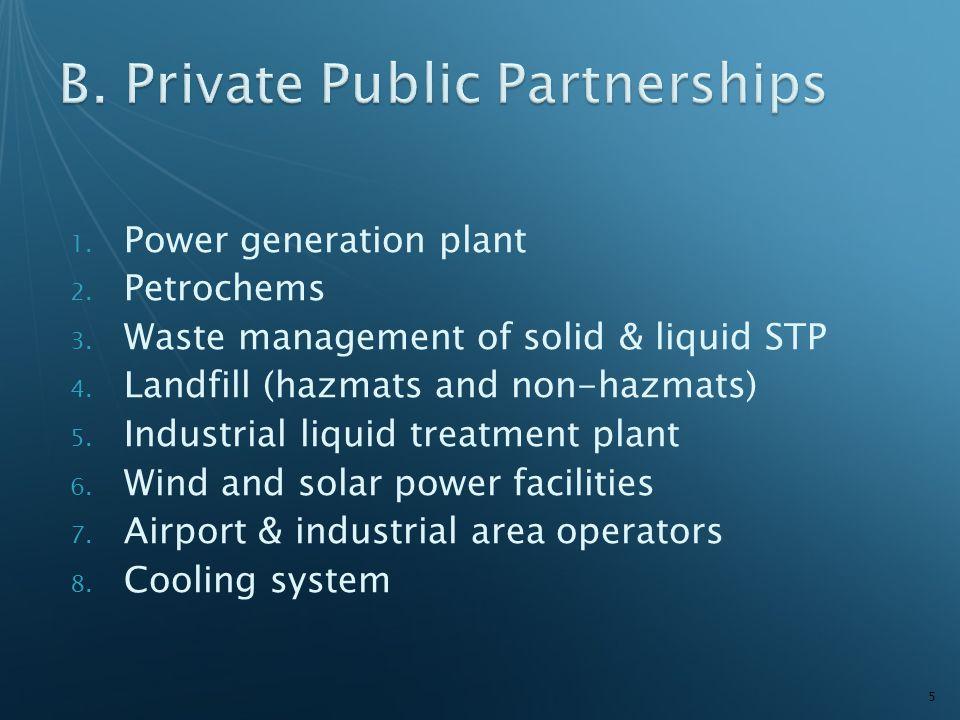 1. Power generation plant 2. Petrochems 3. Waste management of solid & liquid STP 4. Landfill (hazmats and non-hazmats) 5. Industrial liquid treatment