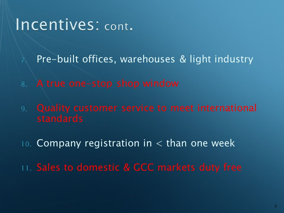 7.Pre-built offices, warehouses & light industry 8.