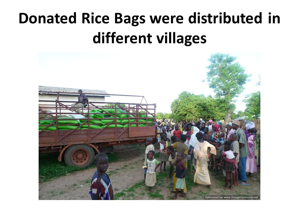 Donated Rice Bags were distributed in different villages