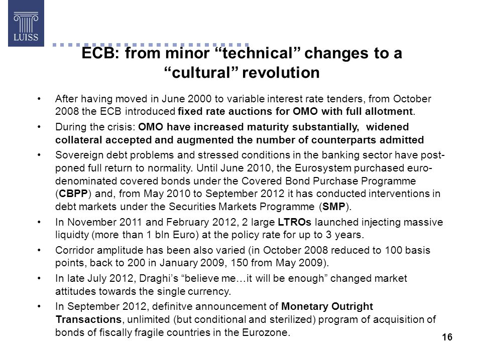 16 ECB: from minor technical changes to a cultural revolution After having moved in June 2000 to variable interest rate tenders, from October 2008 the ECB introduced fixed rate auctions for OMO with full allotment.