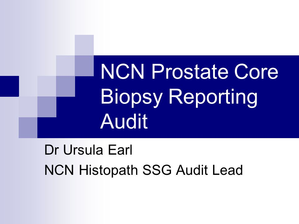 NCN Prostate Core Biopsy Reporting Audit Dr Ursula Earl NCN Histopath SSG Audit Lead