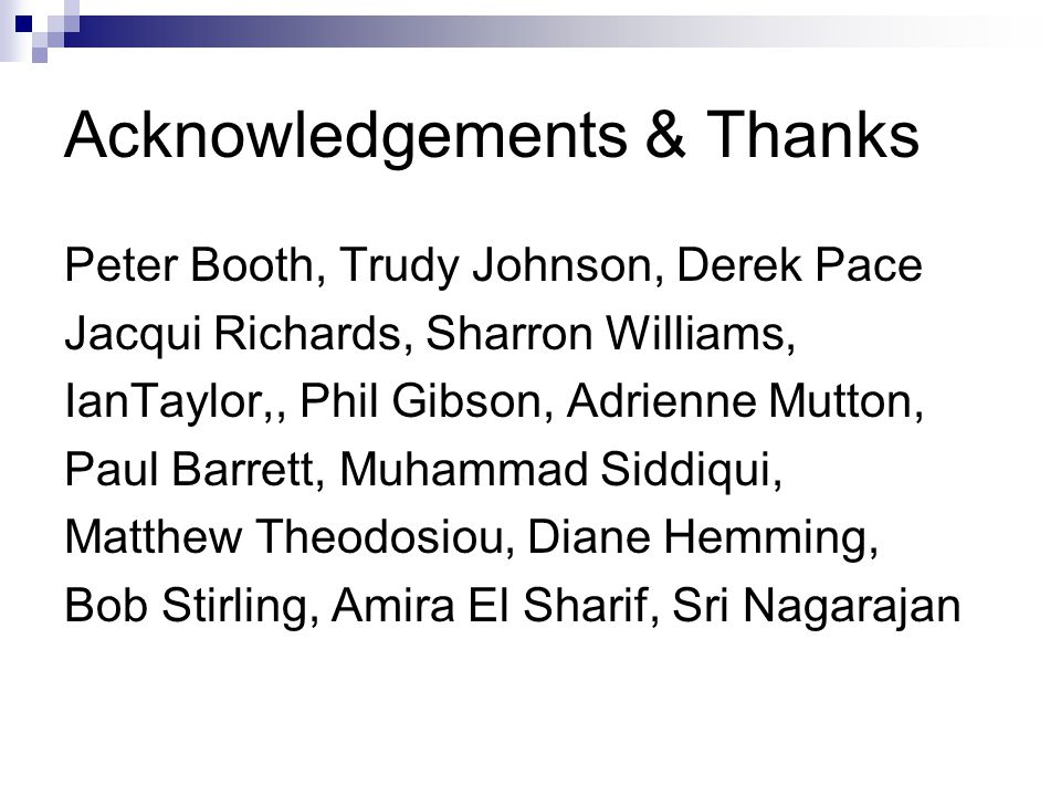 Acknowledgements & Thanks Peter Booth, Trudy Johnson, Derek Pace Jacqui Richards, Sharron Williams, IanTaylor,, Phil Gibson, Adrienne Mutton, Paul Barrett, Muhammad Siddiqui, Matthew Theodosiou, Diane Hemming, Bob Stirling, Amira El Sharif, Sri Nagarajan