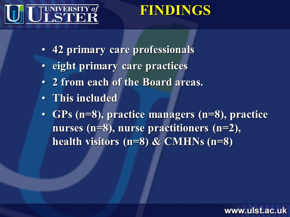 FINDINGS 42 primary care professionals42 primary care professionals eight primary care practiceseight primary care practices 2 from each of the Board areas.2 from each of the Board areas.