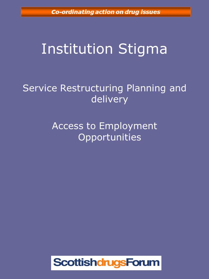 Co-ordinating action on drug issues Institution Stigma Service Restructuring Planning and delivery Access to Employment Opportunities