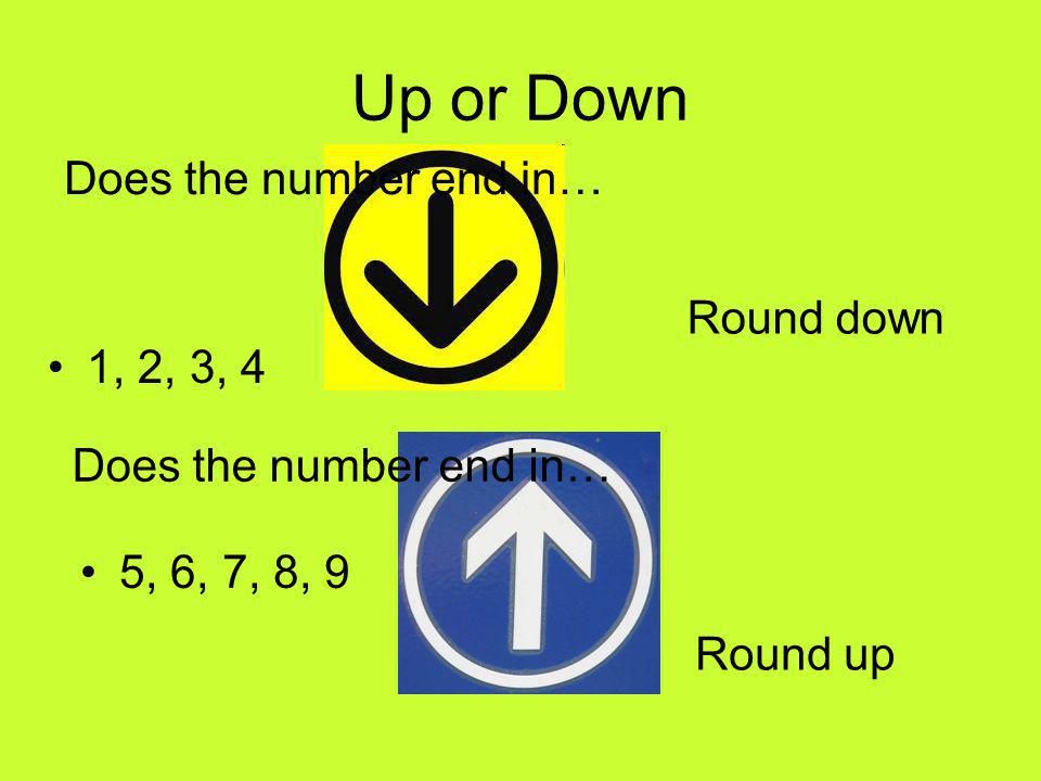 Up or Down 1, 2, 3, 4 5, 6, 7, 8, 9 Does the number end in… Round down Round up