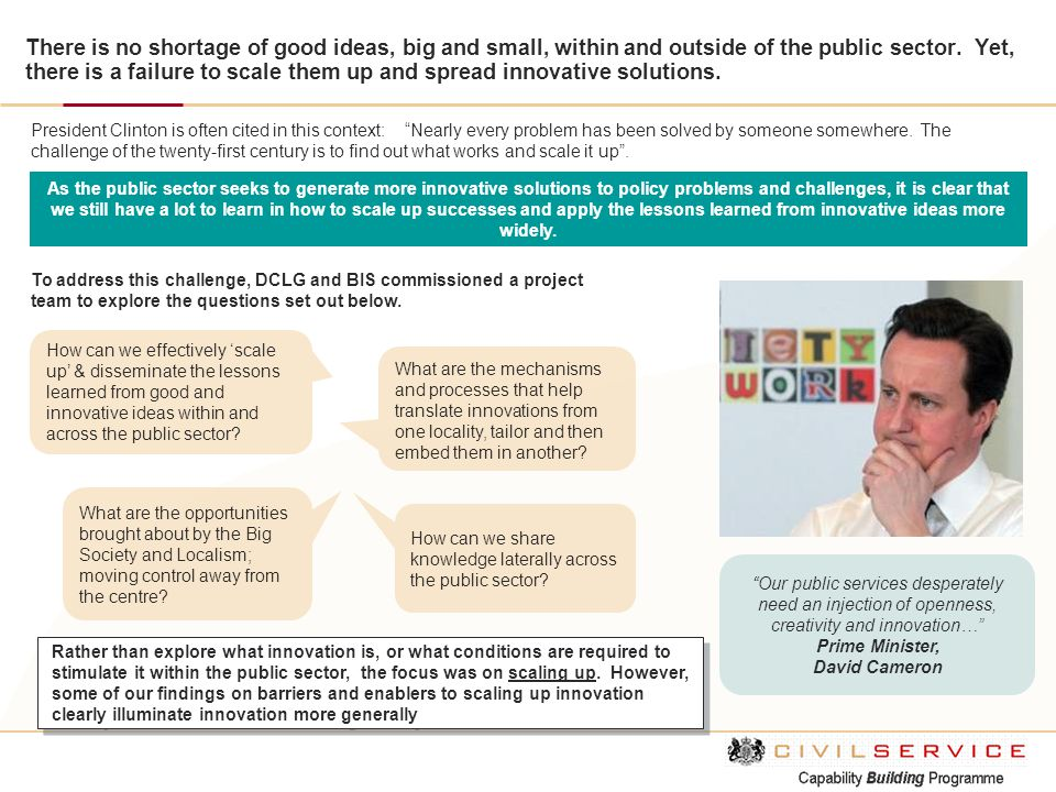 There is no shortage of good ideas, big and small, within and outside of the public sector. Yet, there is a failure to scale them up and spread innova