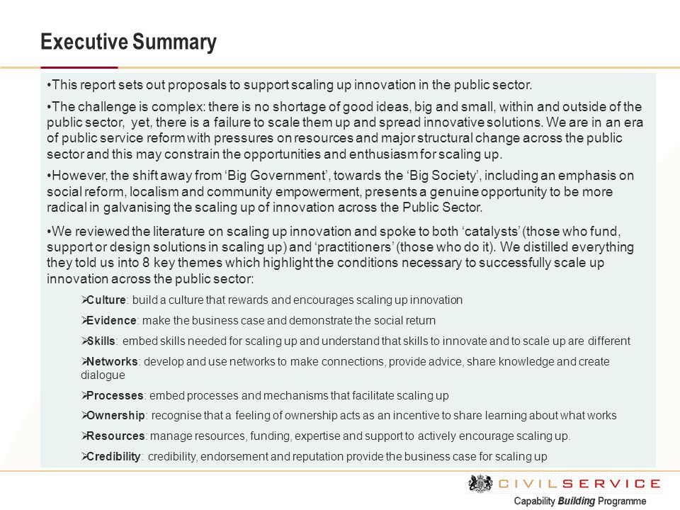 Executive Summary This report sets out proposals to support scaling up innovation in the public sector. The challenge is complex: there is no shortage