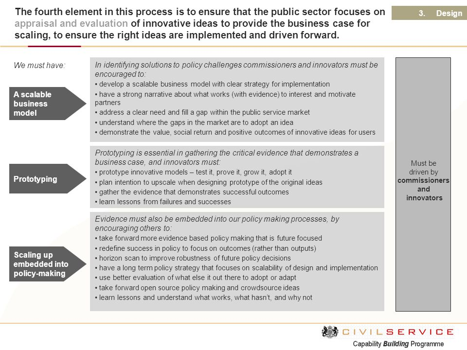 Scaling up embedded into policy-making A scalable business model Evidence must also be embedded into our policy making processes, by encouraging other