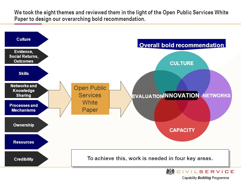 We took the eight themes and reviewed them in the light of the Open Public Services White Paper to design our overarching bold recommendation. Culture